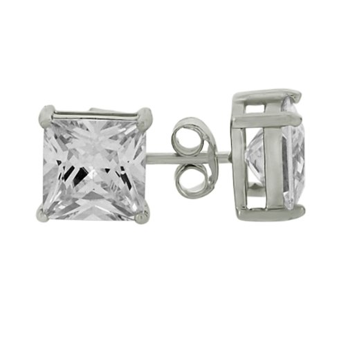 .925 Sterling Silver Rhodium Plated 6mm Square Solitaire Basket April Birthstone Stud Stud Earrings For Men Women Baby (1.25 ct)