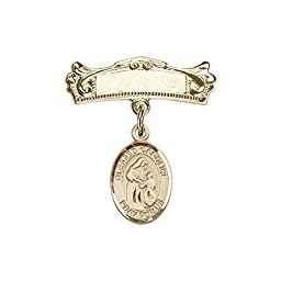 14kt Gold Filled Baby Badge with Blessed Caroline Gerhardinger Charm and Arched Polished Badge Pin