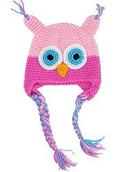 niceeshop(TM) Cute Handmade Toddler Baby Boys Girls Owls Crochet Knit Woolly Cap Earflap Hat-Pink&Roseo