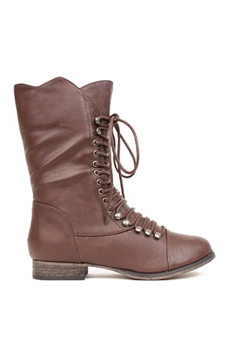 Breckelles Georgia-34 Scalloped Lace Up Military Combat Boot - Light Brown PU