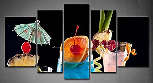 Flora Woods Painting 5 Panels Fresh Look Color Tropical Drinks Most Popular Cocktails Series Painting Print On Canvas Fruit Picture Modern Painting