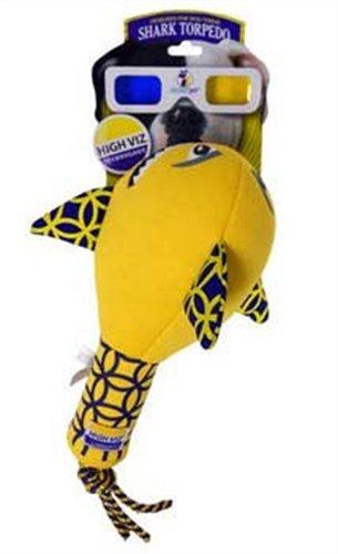 Romp! High Viz Shark Torpedo, Floating Fetch and Retriever Dog Toy, Large
