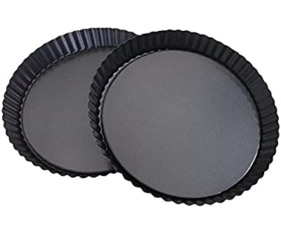 Attmu Non-Stick Removable Loose Bottom Quiche Pan, Tart Pie Pan, Round Tart Quiche Pan with Removable Base