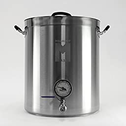 MegaPot 1.2 Stainless Steel Brew Kettle Pot - 15 Gallon with Ball Valve and Thermometer - 60 Quart