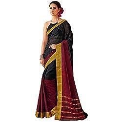Lemoda Designer Black & Maroon Lace Border Work Cotton Saree MMUKE63522399340-70000043
