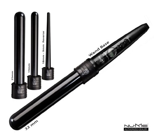 NuMe 4-Play Tourmaline-Infused Curling Wand 4 in 1 Interchangable Barrels, Black