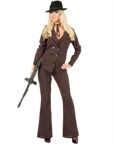 Charades Womens Gangster Moll 6 Button Double Breasted (Black/Red) Adult Costume