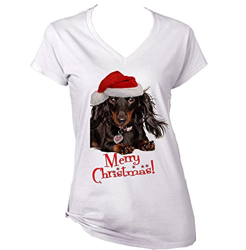 teesquare1st MERRY CHRISTMAS DACHSHUND BLACK LONG HAIR WW - New Cotton Graphic White T-Shirt
