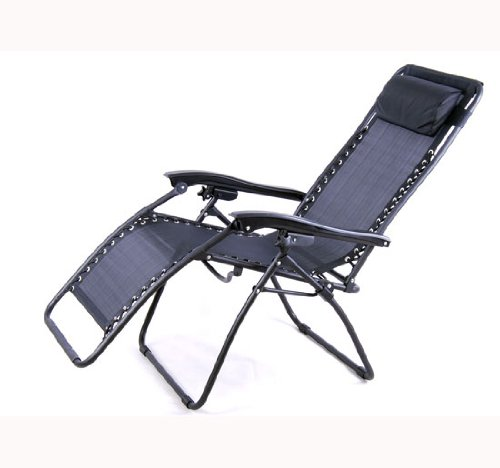 Outsunny zero gravity recliner lounge patio pool chair black new free