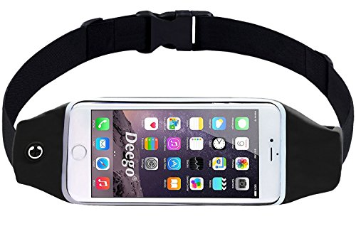 Running Waist Belt Pouch Case Fit iPhone 7/7 Plus,6S/6 Plus,Google Pixel,Galaxy Note 5,S7 Edge,S6 Edge,and More Devices Under 5.9 Inch Zipper Pockets Water Resistant