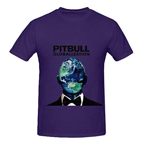 Pitbull Globalization 80s Album Cover Men Crew Neck Design Shirts Purple (I Ate A Shark Shirt compare prices)