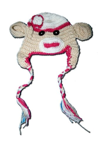 "MONKEY Crochet Baby Sock Hat in Beige and Pink color 0-2 Year - Hand Made with Milk protein cotton yarn by ""BubuBibi"""