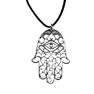 Small Hamsa Silver Dipped Pendant Necklace on adjustable natural fiber cord
