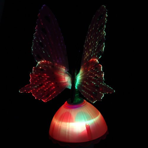 Coffled® 1Pcs Put Fiber Optic Pink Butterfly Led Color Change Nightlight Decor Lamp Gift Toy Pink