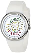 "PeaceLove Unisex F36S-PLW-W  Round Stainless Steel White Silicone Strap and ""Miripolsky"" Art Dial Watch"