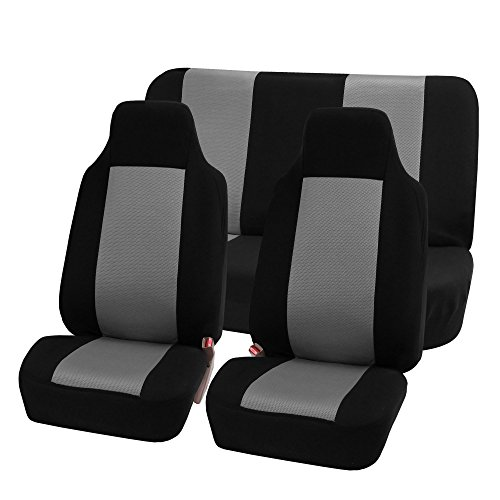 FH-FB102112 Classic Cloth Car Seat Covers Gray / Black color (Seat Covers For Small Cars compare prices)