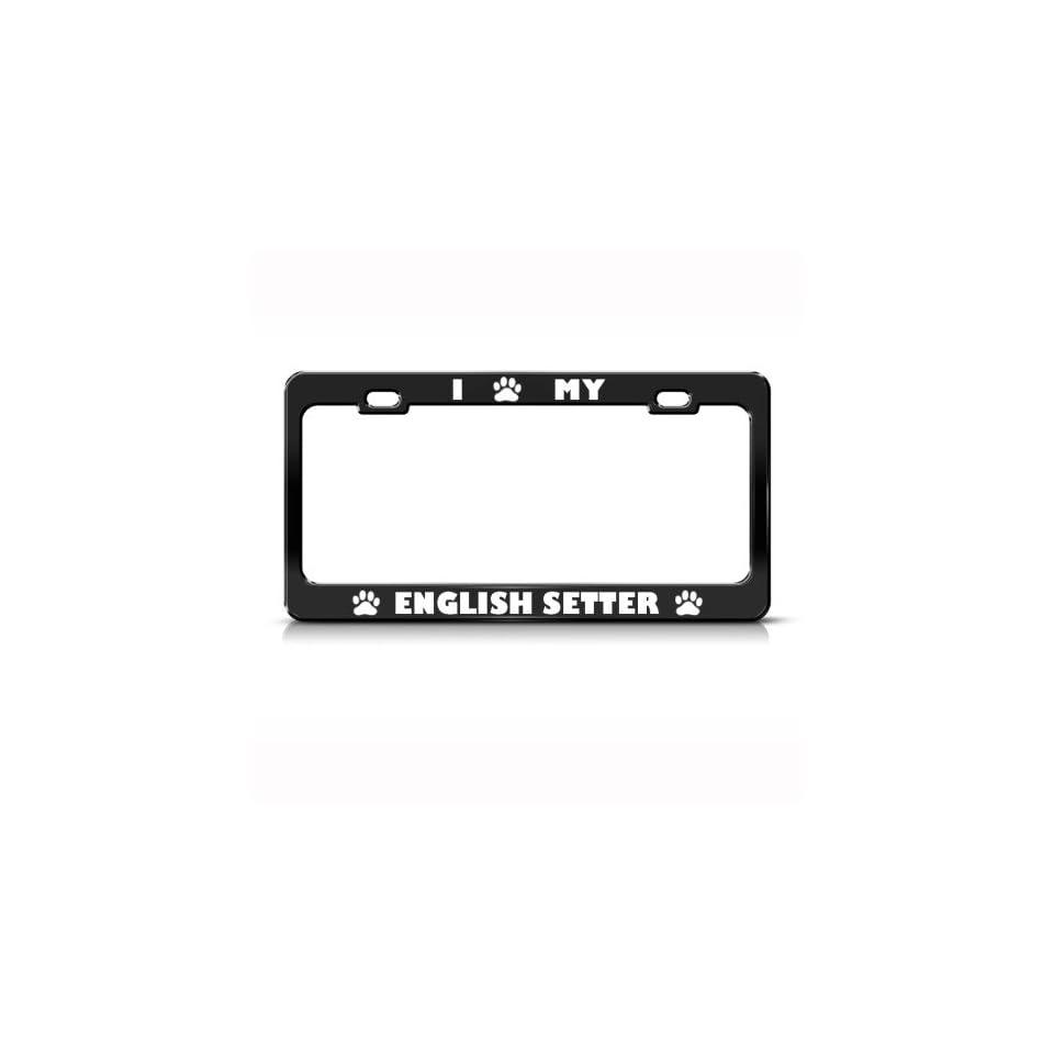 English Setter Dog Dogs Black Metal License Plate Frame Tag Holder