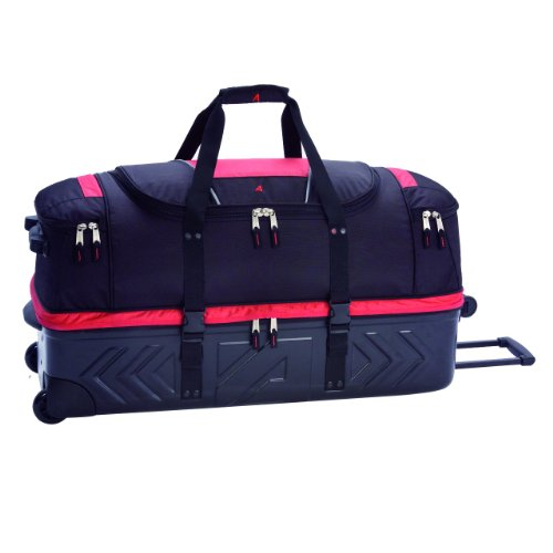 Athalon Molded Wheeling Detachable Duffel Bag (Red/Black, 32-Inch)