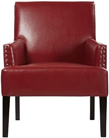 "Cooper Armchair, 34.5""Hx28""W, BNDED LTHR RED"
