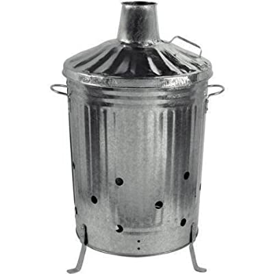 Small Medium Large Garden Fire Bin Incinerator Galvanised Ideal For Burning Wood Leaves Paper 90 Litre by S&MC Gardenware