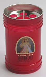 Set of 4 Red Votive Candles - Credo In Te Gesù (Jesus I Believe in You) [ Italian Import ]