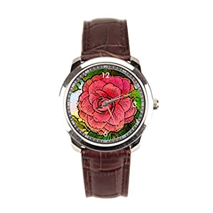 sanYout Watches With Leather Bands Garden Leather Watch Band Plant Mens Leather Watch Flower