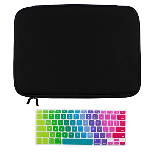 Litop 2 In 1 High Quality And Soft Black Neoprene Zipper Sleeve Bag Cover Case Plus The Rainbow Gradient Keyboard Skin Keyboard Cover Protector For Apple 15 Inch Macbook Pro Laptop