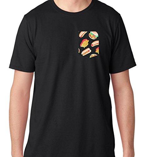 Ftd Apparel Men'S Fast Food Pocket Tee T Shirt-Medium Black