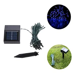 [Promotion] Color Blue 6M 18ft 50 LED Solar Powered String Lights for Indoor Outdoor Home and Garden Decoration for Christmas Wedding and Birthday Party