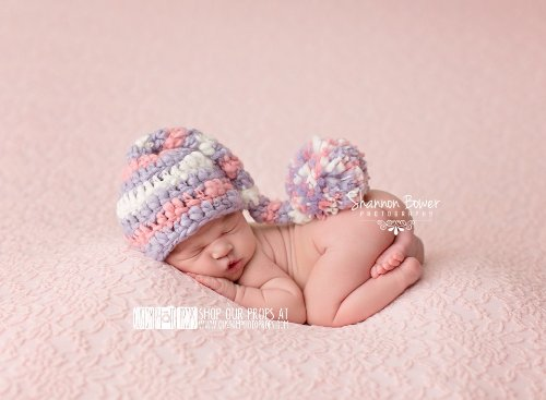 Pip Striped Chunky Newborn Girl Elf Hat Photography Prop, Baby Props, Newborn Prop, Photo Props, Handmade Hat, Pom Pom Hat, Baby Girl Hat front-228365
