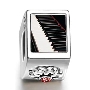 Classic Piano Keys January birthstone Photo Flower European Charm Bead