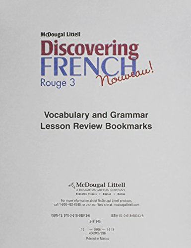 Discovering French, Nouveau!: Lesson Review Bookmarks Rouge Level 3 (French Edition)