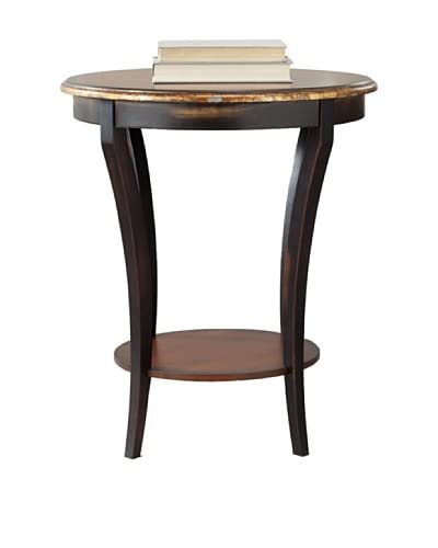 Safavieh Harrison Biedermeier Round Side Table, Brown/Gold Flake