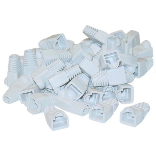 RJ45 Strain Relief Boots, White, 50 Pieces Per Bag - Coded Modular Shielded Plug Mod Ethernet Connector (Duct Jack compare prices)