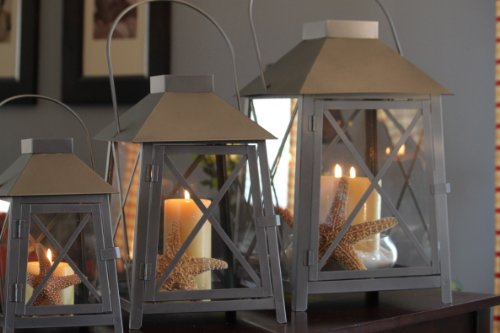Set of 3 Nantucket Candle Lanterns – Pewter