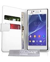 YouSave Accessories SE-HA02-Z674 Etui portefeuille en PU cuir pour Sony Xperia M2 Blanc