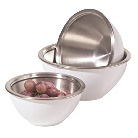 Oggi 3 Piece Stainless Steel Mixing Bowl Set with Plastic Exterior and Airtight Lid, White