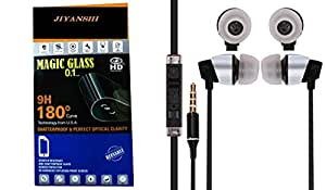 JIYANSHI Gionee Marathon M3 Compatible Combo of Screen Guard/Screen Protector & Earphone With Super Sound (Black)