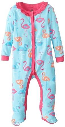 Petit Lem Baby-Girls Newborn Flamingo Love Baby Sleeper, Pink Flamingo, Newborn