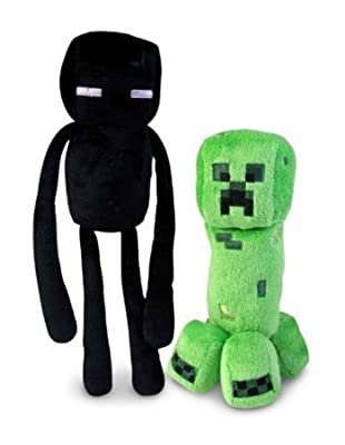 "Minecraft Official Minecraft Overworld 7"" Creeper & 10"" Enderman Plush SET of 2 by Minecraft"