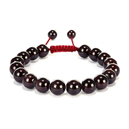 BRCbeads Gemstone Bracelets Red Garnet Natural Gemstones Birthstone Healing Power Crystal Beads Handmade 10mm Stretch Macrame Adjustable Loose Beads With Gift Box Unisex (Crystal Beads 10mm compare prices)