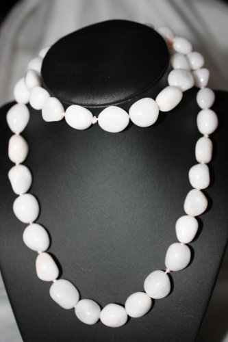 Womens White Quartz Gemstone Necklace, 28 inches