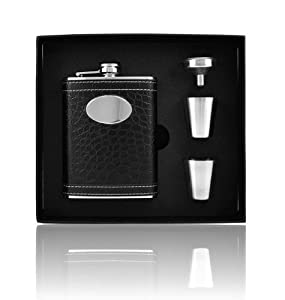 Personalized Set Leather Wrap 8oz Stainless Steel Flask, Funnel and Shot Glass Groomsman Gift - Engraved
