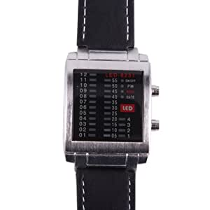 HDE Men's Multi Color Equalizer LED Display Square Face Dial Fashion Watch with Faux Leather Wrist Band