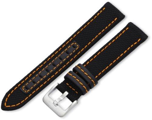Hadley-Roma Men's MSM848RAG180 18-mm Black Genuine 'Kevlar' with Orange Stitching Watch Strap