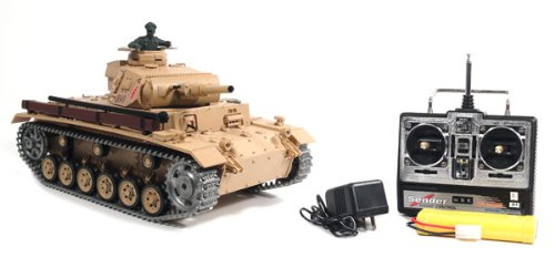 1/16 German TauchPanzer III Air Soft RC Battle Tank Smoke & Sound (Upgrade Version w/ Metal Gear & Tracks)