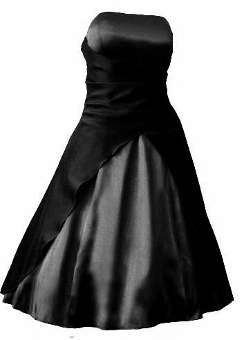 M2030,Satin Abendkleid Ballkleid Cocktailkleid kurz schwarz