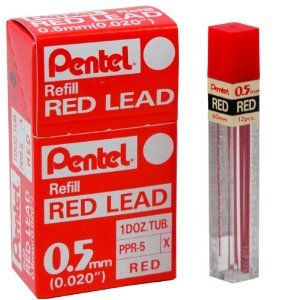 Box Of 12 Tubes Pentel Ppr-5 Red 0.5Mm Refill Lead For Mechanical Pencils