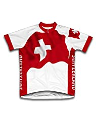 Switzerland Flag Short Sleeve Cycling Jersey for Women