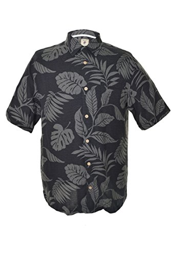 5d7f2d0841d6 Jamaica Jaxx Men s Short Sleeve Silk Shirt-black Tropical Leaf